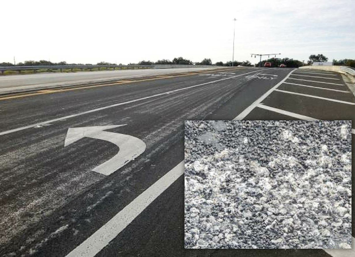 Aggregate loss over uneven texture. Photo courtesy Florida DOT.