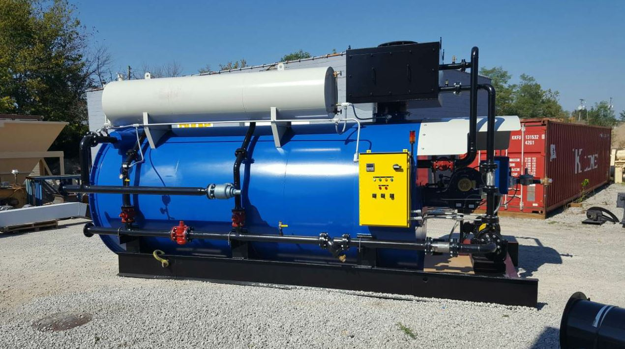 You've got to keep the liquid asphalt cement at a high temperature to make it move. The Burke 5.0 Helical Coiled Hot Oil Heater has a capacity of 5 million BTU output to maintain heat for large terminal storage. Photo courtesy Reliable Asphalt Products.