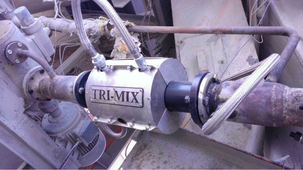 The Tri-Mix WMA system from Tarmac brings the materials into a vortex mixing zone. Photo courtesy Tarmac.