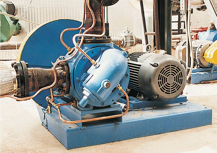 Viking jacketed internal gear pump installed at an asphalt blending terminal. Photo courtesy Viking Pump.