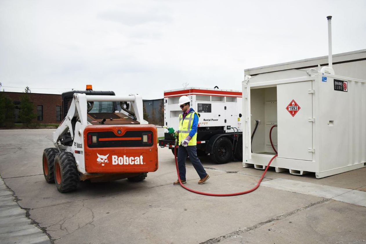 Western Global's EnviroCube provides on-site refueling for construction equipment and fleet vehicles.