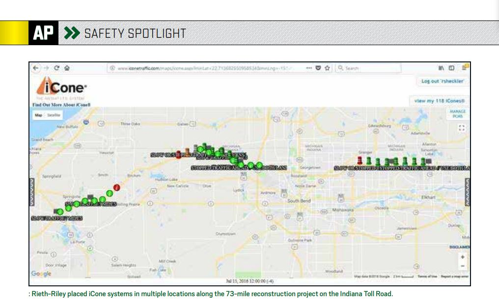Rieth-Riley Controls Traffic with iCones | AsphaltPro Magazine ... on pennsylvania turnpike, ohio turnpike, interstate 90 in illinois, indiana road map online, interstate 90 in minnesota, interstate toll roads map, interstate 90 in ohio, ohio turnpike map, indiana and illinois road map, chicago skyway, indiana map with exit numbers, indiana road conditions map, dan ryan expressway, indiana road map detailed, ohio and indiana road map, tri-state tollway, indiana school map, indiana i-69 road map, indiana highway map, us toll roads map, toll roads usa map, kennedy expressway, toll roads in illinois map, lake station, borman expressway, interstate 95 in new york, u.s. route 40, west virginia turnpike, massachusetts turnpike, indiana tollway map, i-69 martinsville indiana map, indiana i-69 route map, indiana on us map, indiana kentucky road map, tri-state tollway map,