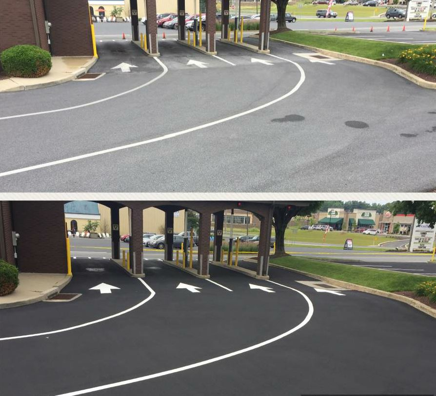 Before and after sealing a bank drive-through.