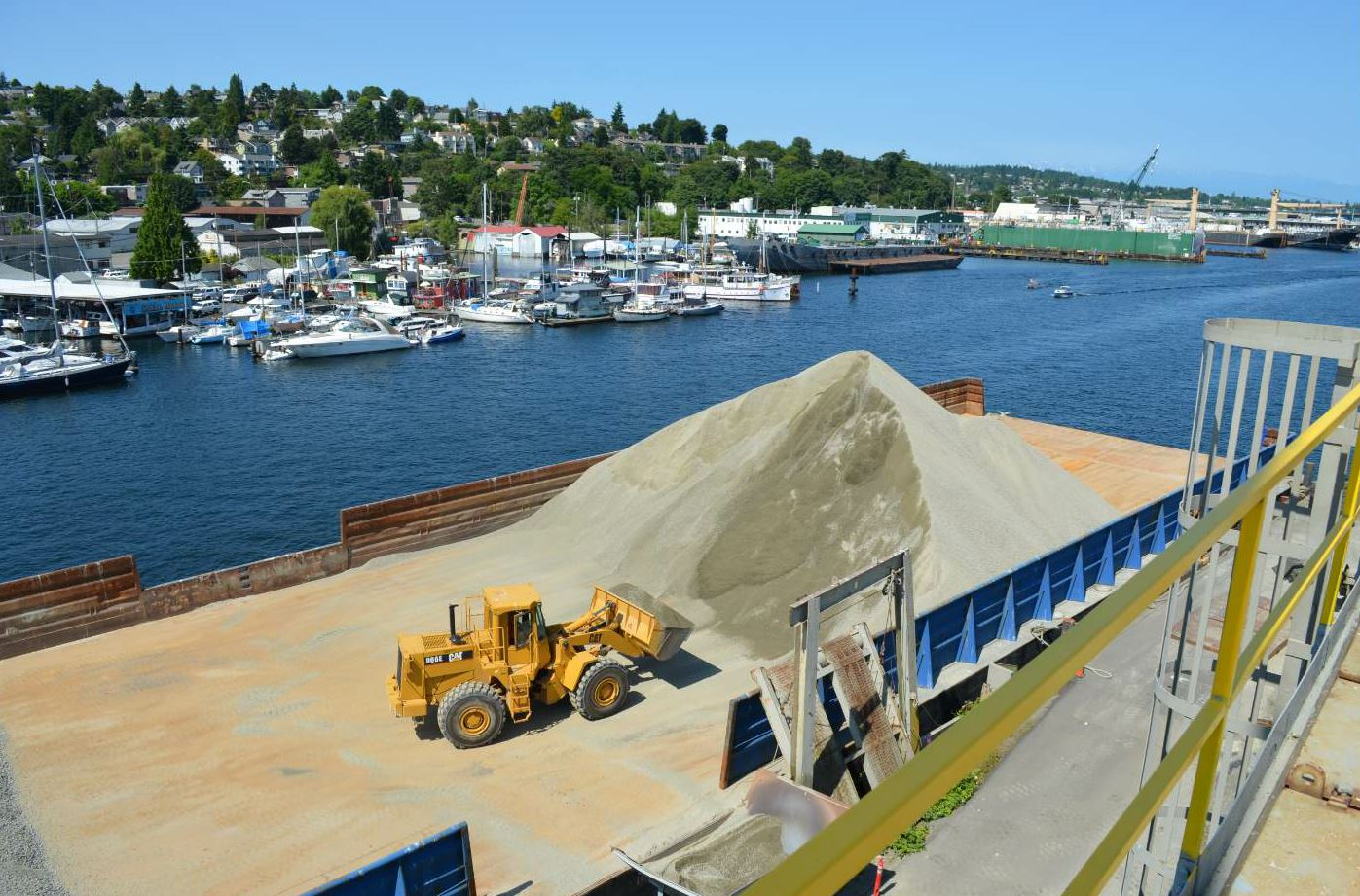 Here the Fremont plant in Seattle takes delivery of aggregate via barge.
