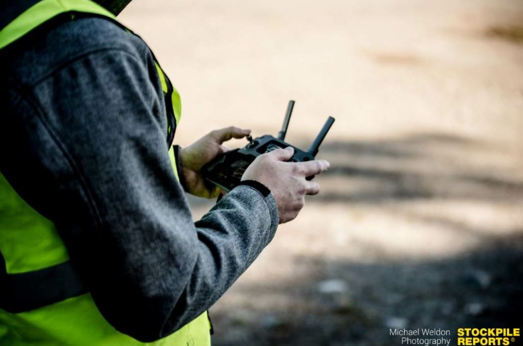 The asphalt company's new drone is a tool for enhancing your marketing or data management points. Photo of a drone controller courtesy Stockpile Reports.