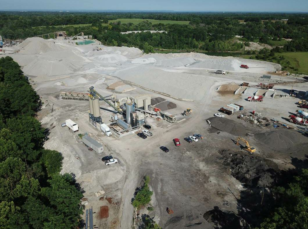 This drone-enabled photo is of the Brownsboro asphalt plant associated with Bluegrass Testing's parent company, Louisville Paving Company. Photo courtesy Bluegrass Testing.
