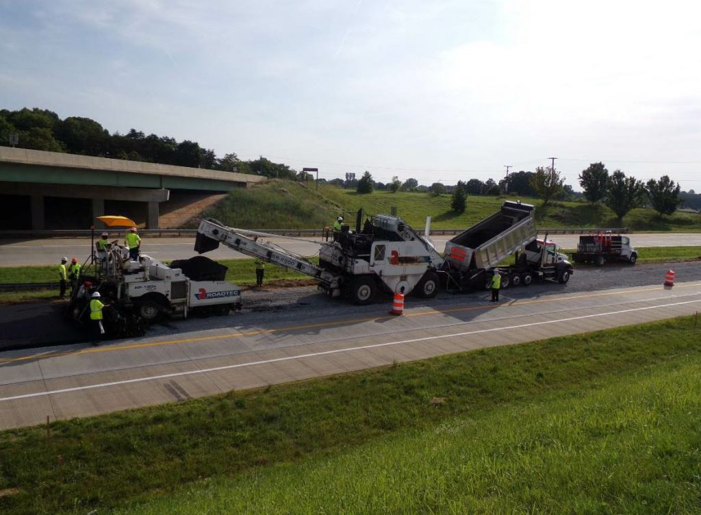 Boxley laid a total of nearly 33,000 tons of asphalt: 17,000 tons of base mix, 8,000 tons of intermediate mix, and 7,900 of surface mix.