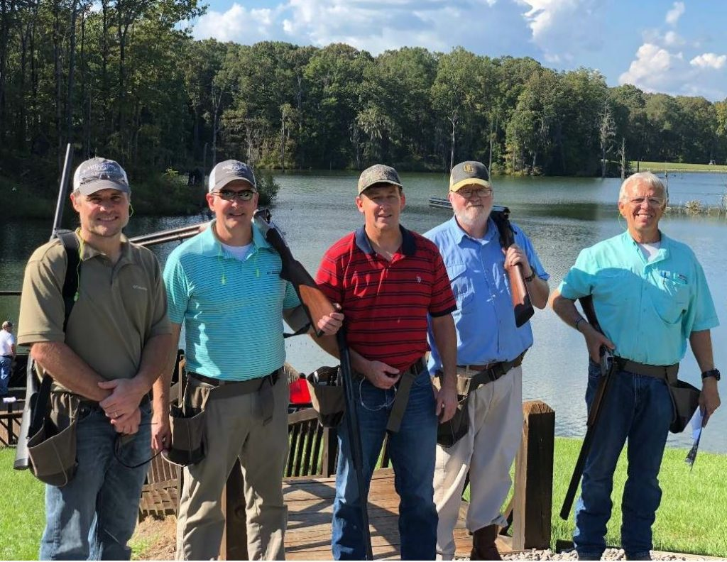 The Mississippi Asphalt Pavement Association's first annual fall meeting was kicked off with a sporting clays tournament. Pictured are (left to right) are Jeff Curtis, State Materials Engineer with MDOT; James Williams, Chief Engineer with MDOT, Dalton Williams, District 7 Maintenance Engineer with MDOT; Wilson Ruff, District 6 Maintenance Engineer with MDOT; and Rick Croy, Materials/Plant & QAQC Manager with Dunn Roadbuilders.