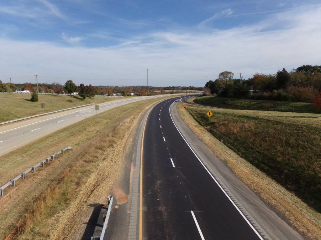 The 2.6-mile project on Route 460 included the rubbilization of the existing concrete roadway and the placement of a new asphalt overlay.