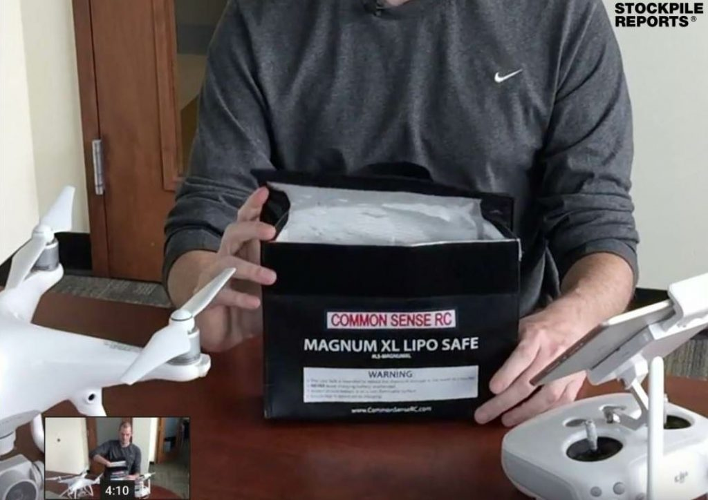 You can store batteries safely in a Lipobag, like this one demonstrated by Stockpile Reports.