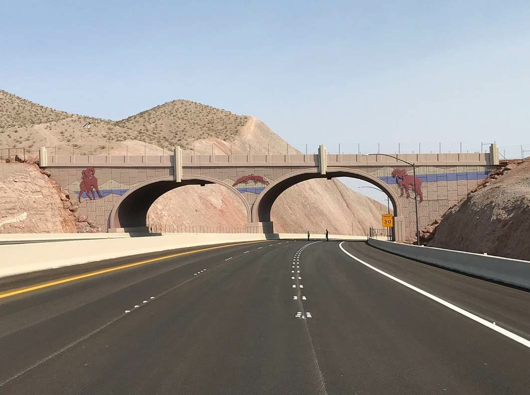 This is one of a number of wildlife crossings along the project. It is meant to safely convey bighorn sheep from one side of the highway to the other.