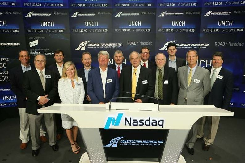 "Construction Partners Inc. went public on the NASDAQ stock exchange May 8, 2018. John Harper shared this statement about the company: ""We are bullish about the asphalt industry and our business. We believe CPI is well-positioned for growth in the five Southeastern states in which we operate. Demand for our services across our 30 distinct markets remains strong and is supported by increased funding for roadway repair and maintenance projects. Our proven growth strategy starts with our company culture driven by great people. Our leadership teams and workforce, we believe are the best in the business. We attain, train and retain the best people in the industry. We really focus on training and upward mobility for our people. As we continue to execute on our proven strategy of delivering controlled, profitable growth that we believe will enhance shareholder value."""