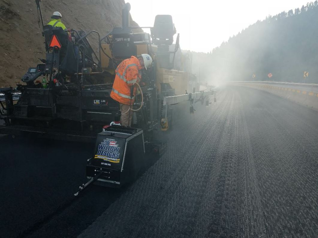 This 8-mile job on Interstate 15 near Boulder, between Helena and Butte, Montana, was one of the first jobs Schellinger Construction completed using Willow Designs' notch wedge joint apparatus and pneumatic roller system.