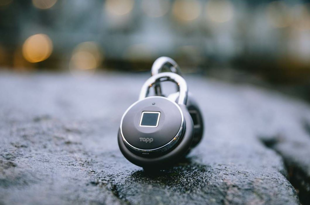 Tapplock one+ is a smart padlock that can be unlocked with users' fingerprints.
