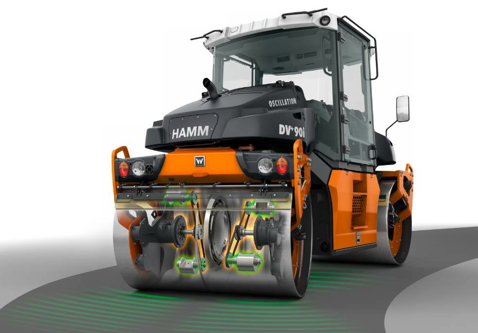 Hamm's patented, split oscillation drum can be used for compacting challenging surfaces and curved sections.