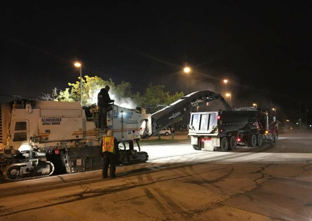 Schroeder and Rocco schedule two to three milling crews a day, and that can include night work.