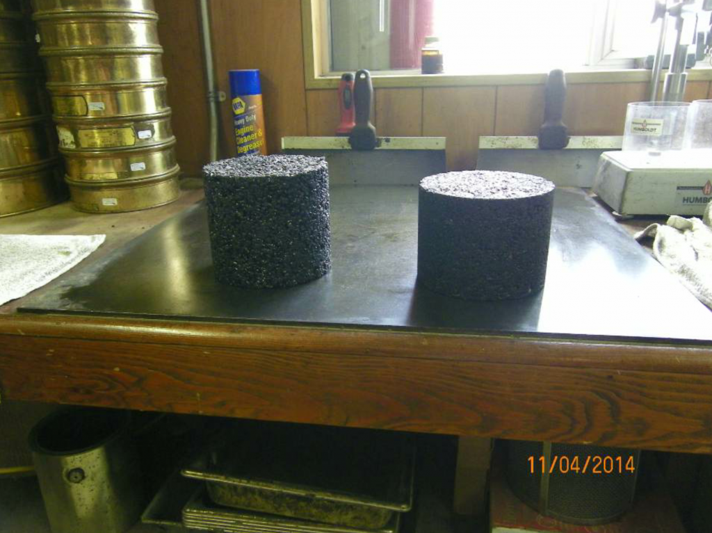 Here you see HMA mix specimens, with OGFC specimens on the left and dense-graded mix specimens on the right.