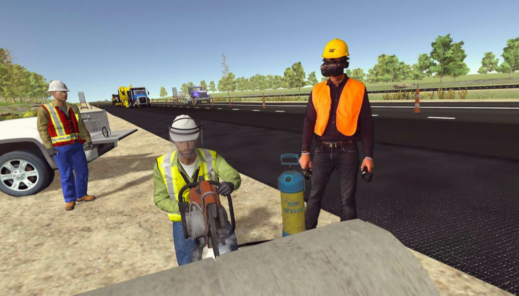 The paving module immerses the viewer in a virtual environment alongside the paving train.