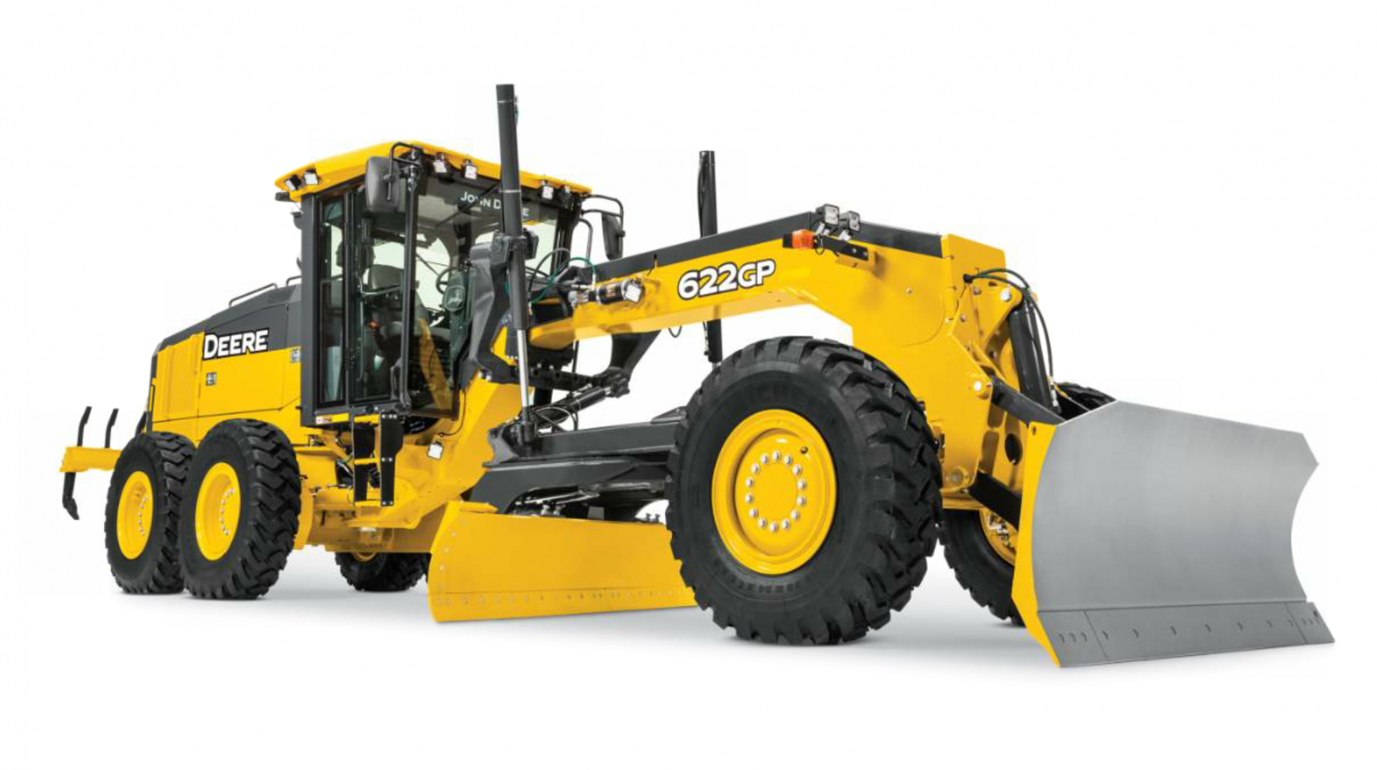 The European rollout of John Deere earthmoving equipment focuses on two G-Series motor graders. The 622GP features a 12-foot moldboard and operates at a weight of 42,060 pounds.