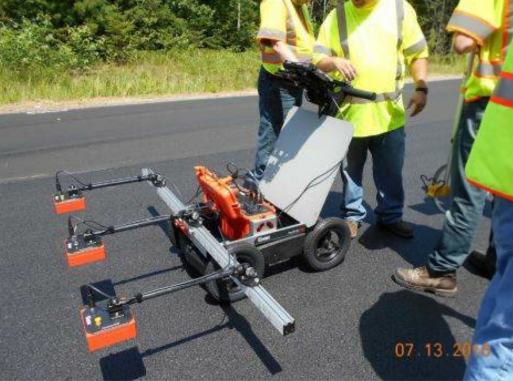 In these pictures, the PaveScan RDM is set up with three 2-gigahertz sensors mounted on a portable push cart. Photos courtesy GSSI.