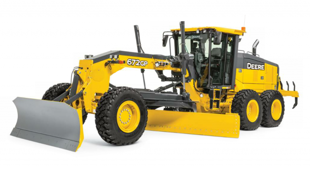 The 672GP features a 14-foot moldboard weighs in at 44,040 pounds.