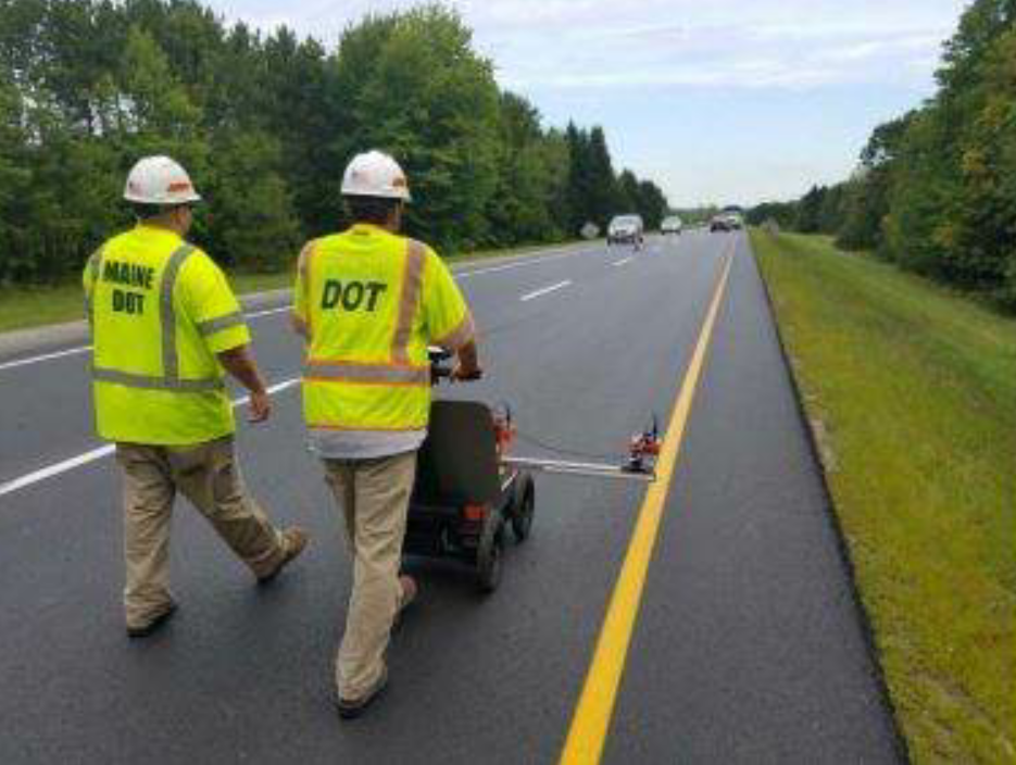 After operators scan the pavement section in this fashion, the data can be processed as a line chart.
