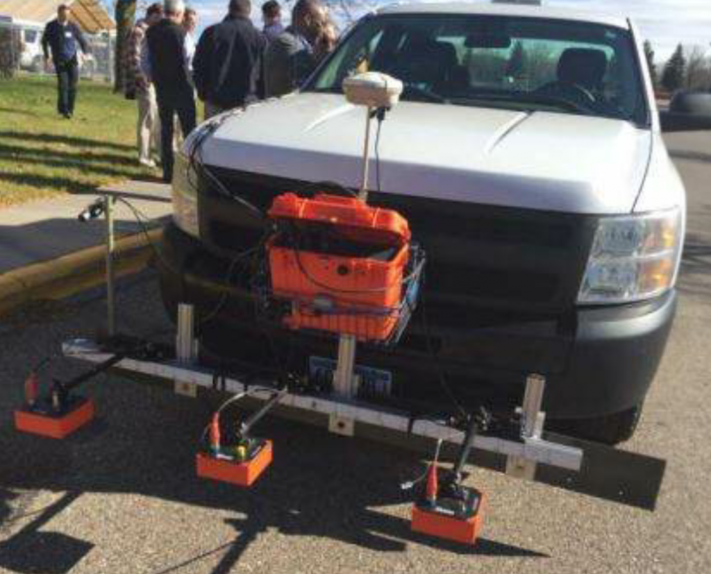 In this picture, the user shows the technology adapted for use with vehicle mounts.