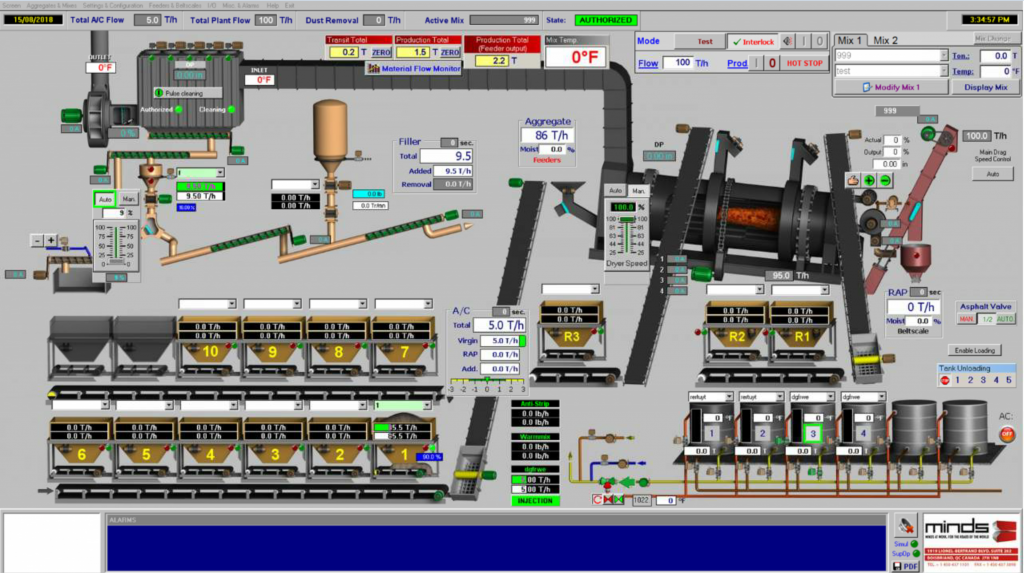 MINDS' DrumTronic asphalt plant automation and control software screen