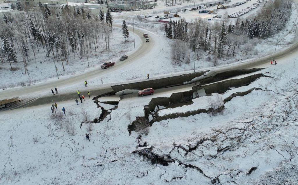Sinkholes had developed on Glenn Highway and an off-ramp of Minnesota Drive, used to access Anchorage International Airport. Photos of a red SUV stranded on an island of road were widely circulated in the news at the time. Photo courtesy of Alaska Aerial Media. All photos courtesy of Alasak DOT & PF.