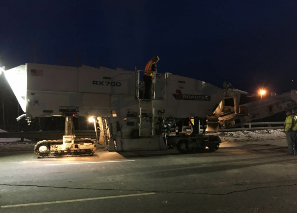 To perform the work, asphalt producers had to fire up their plants in the middle of winter and crews had to dust the snow off of their equipment and get it ready to work.