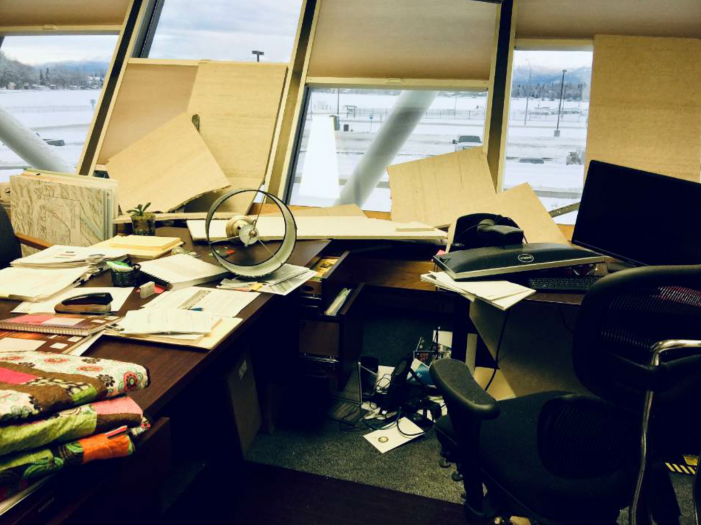 McCarthy's office after the earthquake November 30, 2018.