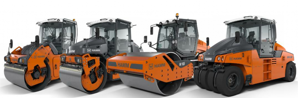 The Wirtgen Group showcased a number of machines in its booth, including the Hamm compactors with Easy Drive technology and a new technology in the oscillatory drums to make maintenance easier for contractors. Photo courtesy Hamm.