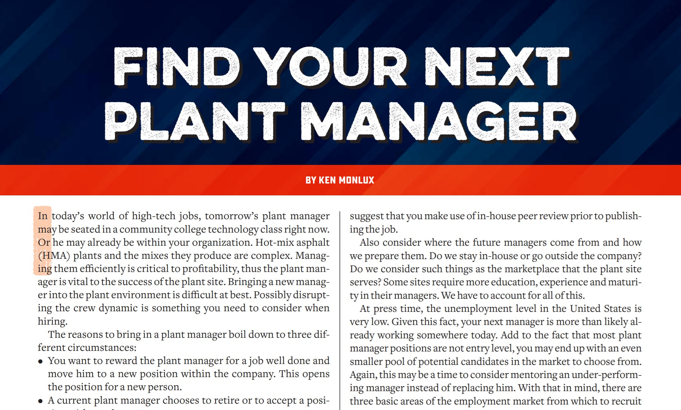 Find Manager how to find your next asphalt plant manager | asphaltpro